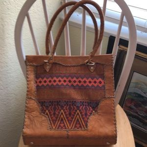 Leather and woven fabric shoulder bag